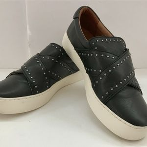Frye Womens Black Sneakers W Cross Strap Closure